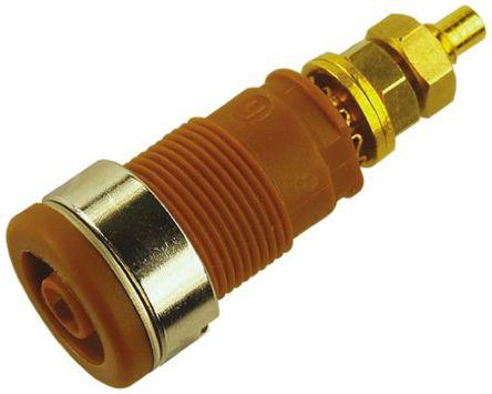 Hirschmann Test & Measurement - 972354105 - Hirschmann 972354105 棕色 4mm 插座, 1000V ac/dc 32A, 镀金触点