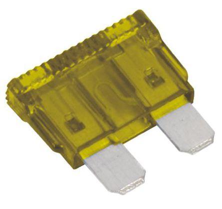 Littelfuse - 0257020.LXN - Littlefuse 20A 黄色 车用插片式熔断器 0257020.LXN, 32V dc, 19.05mm x 5.08mm x 18.54mm