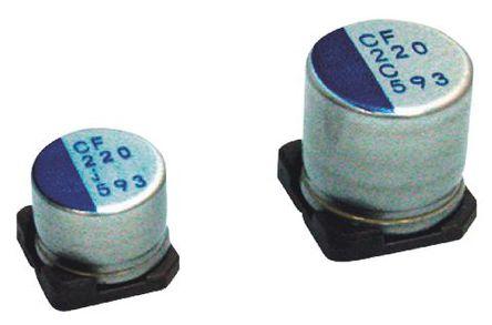 Nichicon - PCF0G101MCL1GS - Nichicon CF 系列 4 V 直流 100μF SMD 聚合体 铝电解电容器 PCF0G101MCL1GS, ±20%容差, 22mΩ(等值串联), 最高+105°C