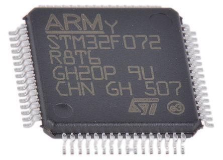 STMicroelectronics - STM32F072R8T6TR - STMicroelectronics STM32F 系列 32 bit ARM Cortex M0 MCU STM32F072R8T6TR, 48MHz, 64 kB ROM 闪存, 16 kB RAM, 1xUSB, LQFP-64