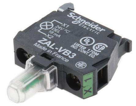 Schneider Electric - ZALVB3 - Schneider Electric XB5 系列 照明块 ZALVB3, 24 V, 绿色 LED, 螺钉接端