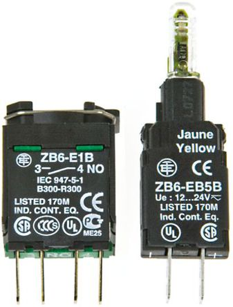 Schneider Electric - ZB6ZB31B - Schneider Electric XB6 系列 接触块和照明块 ZB6ZB31B, 1 常开, 12 → 24 V, 绿色 LED, Faston 连接器接端