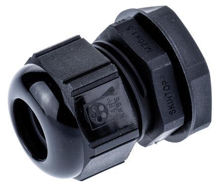 Lapp - 53111220+53119120 - Lapp SKINTOP? 系列 IP69K 黑色 聚酰胺 带锁紧螺母的电缆固定头 53111220+53119120, 7mm 至 13mm电缆直径, -20°C至+100°C, M20螺纹
