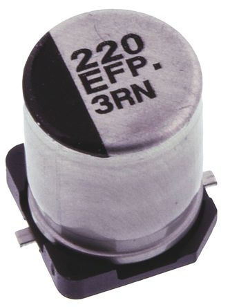 Panasonic - EEEFP1E221AP - Panasonic FP SMD 系列 25 V 直流 220μF SMD 铝电解电容器 EEEFP1E221AP, ±20%容差, 80mΩ(等值串联), 最高+105°C