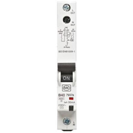 MK - 7937S - MK 7937S 系列 1极 B型 住宅用 RCBO, 7937S, 40A, 6 kA断路能力