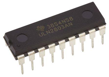 Texas Instruments - ULN2803AN - Texas Instruments ULN2803AN NPN 达林顿晶体管阵列, 0.5 A, Vce=50 V, 18引脚 PDIP封装