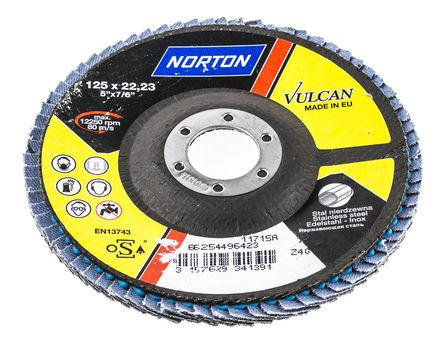 Norton - 66254496423 - Norton Flap Disc 系列 Vulcan 粒度40 氧化锆铝 打磨盘 66254496423, 125mm直径