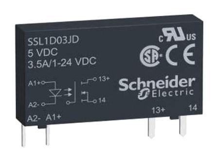 Schneider Electric - SSL1D101JD - Schneider Electric 0.1 A PCB安装 单极常开 固态继电器 SSL1D101JD, MOSFET输出, 直流切换切换, 48 V 直流