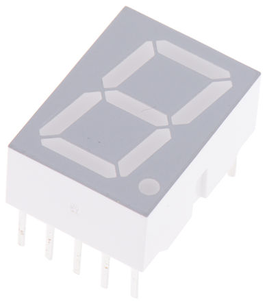 Broadcom - HDSP-5553 - Broadcom 1字符 7段 共阴 红色 LED 数码管 HDSP-5553, 1.48 mcd, 右侧小数点, 14.22mm高字符, 通孔安装
