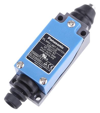 Panasonic - AZ8111CEJ - Panasonic IP64 限位开关 AZ8111CEJ, 柱塞, DPST, 常开/常闭, 250V