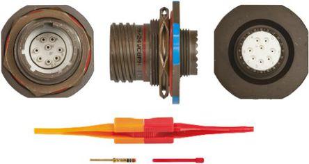 ITT - KJB7T13W8PN - ITT KJB 系列 8路 面板安�b �B接器 螺�y 插座 KJB7T13W8PN, 公�|芯, 外�こ叽�13, MIL-DTL-38999