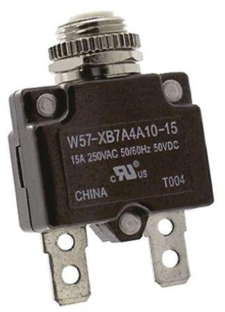 TE Connectivity - W57-XB7A4A10-15 - TE Connectivity W57 系列 15A 1 极 热磁断路器 W57-XB7A4A10-15, 250V ac