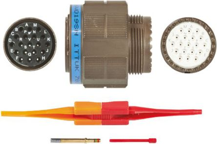 ITT - KJB6T15W19SN - ITT KJB 系列 19路 ��|安�b �A形�B接器 螺�y 插�^ KJB6T15W19SN, 母�|芯, 外�こ叽�15, MIL-DTL-38999