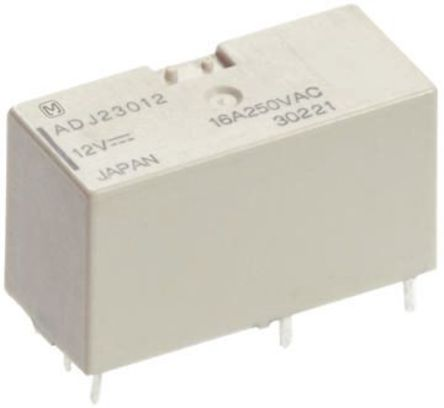 Panasonic - ADJ14012 - Panasonic ADJ14012 单刀双掷 PCB 安装 自锁继电器, 16 A, 12V dc, 适用于电源应用