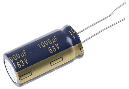 Panasonic - EEUFC1J102U - Panasonic FC 径向 系列 63 V 直流 1000μF 通孔 铝电解电容器 EEUFC1J102U, ±20%容差, 43mΩ(等值串联), 最高+105°C