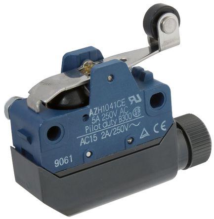 Panasonic - AZH1241 - Panasonic 塑料外壳 IP54(接线端子),IP64(开关) 瞬间作用 限位开关 AZH1241, 转子杠杆, SPDT, 常开/常闭
