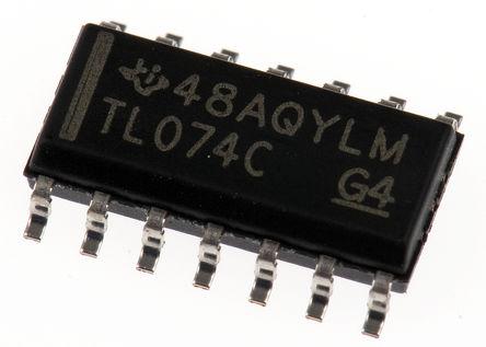 Texas Instruments - TL074CD - Texas Instruments TL074CD 四路 运算放大器, 3MHz增益带宽积, 14引脚 SOIC封装