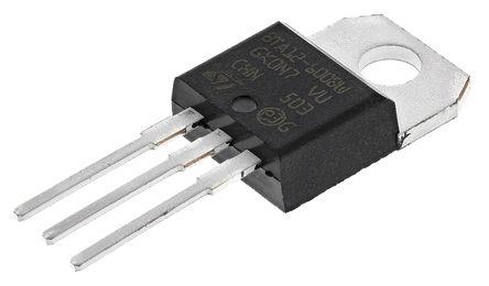 STMicroelectronics - BTA12-600BWRG - STMicroelectronics BTA12-600BWRG 三端双向可控硅开关元件, 12A额定, 800V峰值, 50mA 1.3V触发, 3引脚 TO-220AB封装