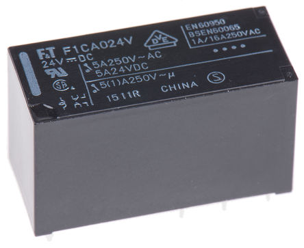 Fujitsu - FTR-F1CA024V - Fujitsu FTR-F1CA024V 双刀双掷 PCB 安装 非闭锁继电器, 24V