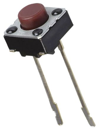 Panasonic - EVQ-21505R - Panasonic 红色 按钮式 触觉开关 EVQ-21505R, 单刀单掷, 20 mA@15 V 直流 1.6mm
