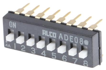 TE Connectivity - ADE08A04 - TE Connectivity ADE08A04 8位置 扩展滑动 通孔 DIP 开关, 单刀单掷, 100 mA@ 24 V 直流