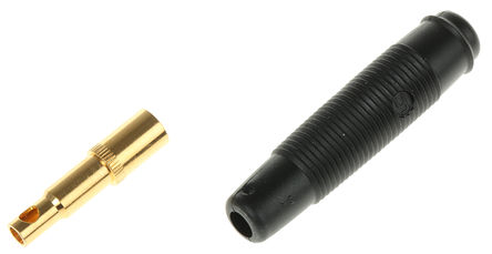 Hirschmann Test & Measurement - 931804700 - Hirschmann 931804700 黑色 4mm 插座, 30 V ac, 60 V dc 16A, 镀金触点