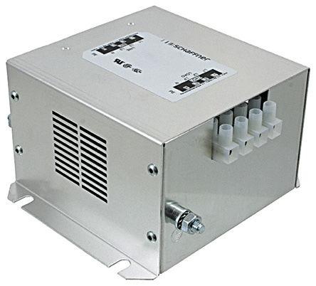 Schaffner - FN256-8-46 - Schaffner FN256 系列 8A 480 V 交流, 0 至 60Hz 法兰安装 RFI 滤波器 FN256-8-46, 带螺丝接端