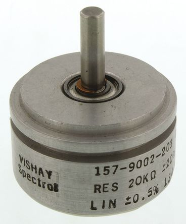 Vishay - 157S203MB9002 - Vishay 157 系列 20kΩ ±20% 线性 精密电位计 157S203MB9002, 1W, 3.17 mm 直径轴, ±600ppm/°C, 伺服安装