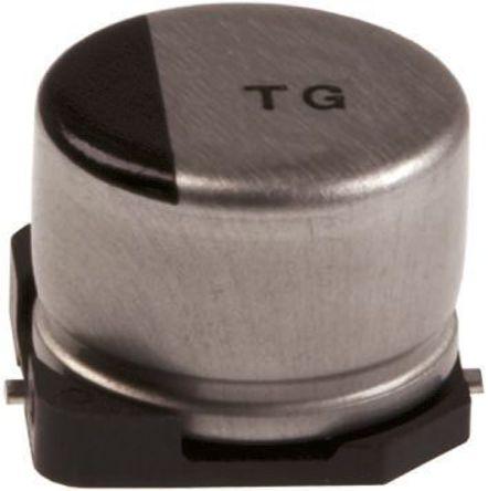 Panasonic - EEETG1A221P - Panasonic TG 系列 10 V 直流 220μF SMD 铝电解电容器 EEETG1A221P, ±20%容差, 500mΩ(等值串联), 最高+125°C