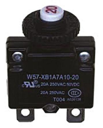TE Connectivity - W57-XB1A7A10-15 - TE Connectivity W57 系列 15A 1 极 热磁断路器 W57-XB1A7A10-15, 250V ac