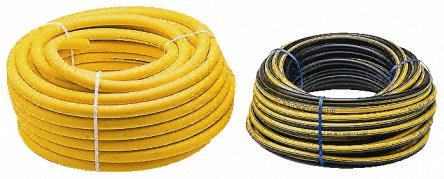RS Pro - CT079-007-106-BBYS-07 - RS Pro GPA 系列 30m 黑色/黄色 PVC丁腈橡胶混合 CT079-007-106-BBYS-07 空气软管, 20 bar工作压力, -15 → +60°C, 6.3mm外径 ,适合多种应用