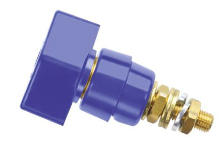 Schutzinger - POL 631 / BL - Schutzinger 4mm 蓝色 绝缘 接线柱 POL 631 / BL, 1kV, 63A额定电流, M6 x 0.75 螺纹