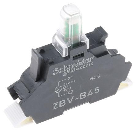 Schneider Electric - ZBVB45 - Schneider Electric XB4 XB5 系列 照明块 ZBVB45, 24 V 交流/直流, 红色 LED, 笼式弹簧夹接端