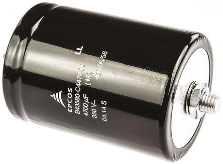 EPCOS - B43580C4478M - EPCOS B43580 系列 350 V 直流 4700μF 铝电解电容器 B43580C4478M, ±20%容差, 27mΩ(等值串联), 最高+105°C