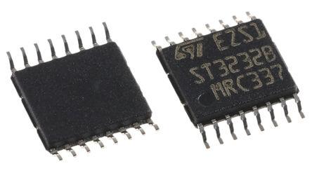 STMicroelectronics - ST3232BTR - STMicroelectronics ST3232BTR 400kbps 线路收发器, RS-232接口, 2-TX 2-RX, 3.3 V、5 V单电源, 16引脚 TSSOP封装