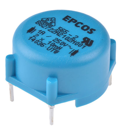 EPCOS - B82722A2102N001 - EPCOS B82721A 系列 10 mH ±30% 铁氧体 B82722A2102N001 功率电感器, 1A Idc, 480mΩ Rdc