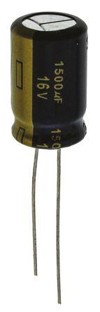 Panasonic - EEUFC1C152 - Panasonic FC 径向 系列 16 V 直流 1500μF 通孔 铝电解电容器 EEUFC1C152, ±20%容差, 38mΩ(等值串联), 最高+105°C
