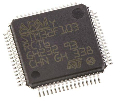 STMicroelectronics - STM32F103RCT6 - STMicroelectronics STM32F 系列 32 bit ARM Cortex M3 MCU STM32F103RCT6, 72MHz, 256 kB ROM 闪存, 48 kB RAM, 1xUSB, LQFP-64