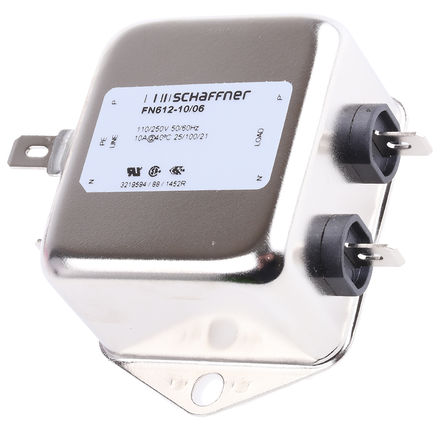 Schaffner - FN612-10-06 - Schaffner FN612 系列 10A, 400Hz 底盘安装 EMI 滤波器 FN612-10-06, 带安装片接端