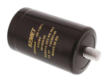 KEMET - ALS31A223KE063 - KEMET ALS31 系列 63 V 直流 22000μF 螺柱安装 铝电解电容器 ALS31A223KE063, ±20%容差, 12mΩ(等值串联), 最高+85°C, 罐 - 螺钉接线端子,径向封装