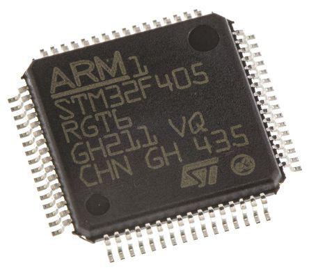 STMicroelectronics - STM32F405RGT6 - STM32F 系列 STMicroelectronics 32 bit ARM Cortex M4F MCU STM32F405RGT6, 168MHz, 1024 kB ROM 闪存, 4 kB、192 kB RAM, 1xUSB
