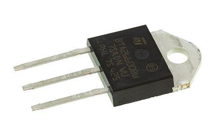 STMicroelectronics - BTA26-600BW - STMicroelectronics BTA26-600BW 三端双向可控硅开关元件, 25A额定, 600V峰值, 50mA 1.3V触发, 3引脚 TOP3 绝缘封装