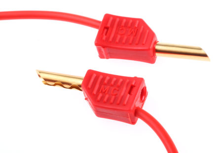 Multi Contact - 28.0055-100-22 - Multi Contact 28.0055-100-22 红色 测试引线, 19A额定电流, 30 V ac, 60 V dc, 公至公, 1m长