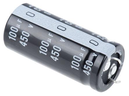 Nichicon - LGU2W101MELY - Nichicon GU 系列 450 V 直流 100μF 通孔 铝电解电容器 LGU2W101MELY, ±20%容差, 最高+105°C