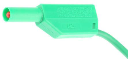 Multi Contact - 28.0124-100-25 - Multi Contact 28.0124-100-25 绿色 测试引线, 32A额定电流, 1 kV, 600 V, 公至公, 1m长