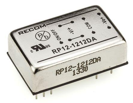 Recom - RP12-1212DA - Recom RP12 A 系列 12W 隔�x式直流-直流�D�Q器 RP12-1212DA, 9 → 18 V 直流�入, ±12V dc�出, ±500mA�出, 1.6kV dc隔�x���, DIP封�b