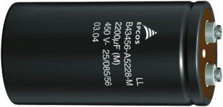 EPCOS - B43560A5228M - EPCOS B43560 系列 450 V 直流 2200μF 铝电解电容器 B43560A5228M, ±20%容差, 56mΩ(等值串联), 最高+105°C