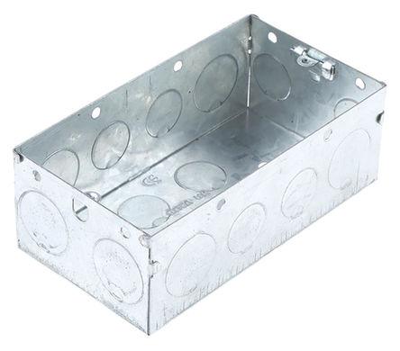 Deta - DB168B - Deta 金属盒 系列 IP00 银色 接地终端 金属 2插孔 后背箱 DB168B, 合符BS 标准