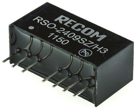 Recom - RSO-2409SZ/H3 - Recom RSO 系列 1W 隔离式直流-直流转换器 RSO-2409SZ/H3, 9 → 36 V 直流输入, 9V dc输出, 111mA输出, 3kV dc隔离电压, 75 → 81%效能, SIP封装