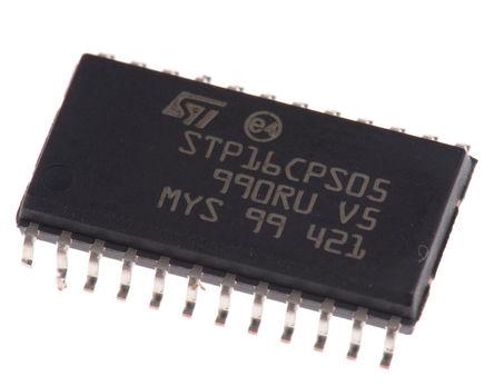 STMicroelectronics - STP16CPS05MTR - STMicroelectronics LED 驱动器集成电路 STP16CPS05MTR, 3 → 5.5 V 交流输入, 最大为 20 V输出, 100mA输出, SO-24